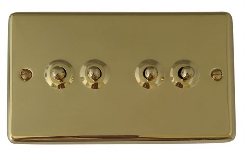 G&H CB284 Standard Plate Polished Brass 4 Gang 1 or 2 Way Toggle Light Switch